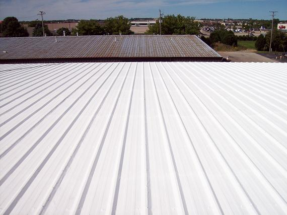 Metal roof top coated with Conklin roof coatings