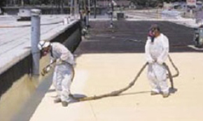 Spray foam on flat roof