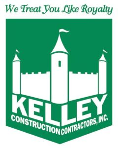 Kelley Construction Contractors Logo White Roofing Systems